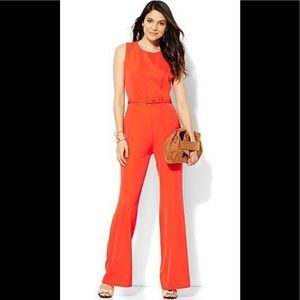 New York & Co. Sleeveless Belted Jumpsuit